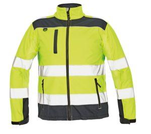 Pánská softshellová bunda se stojáčkem v hi-vis -žlutá