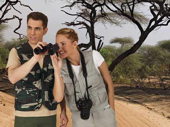 Safari vesty s kapsami